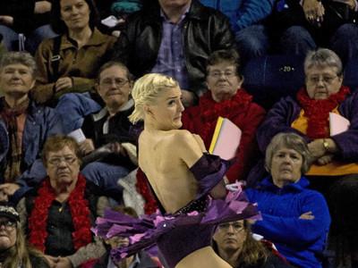 10/31: Viktoria Helgesson has a wardrobe malfunction at Skate Canada.
