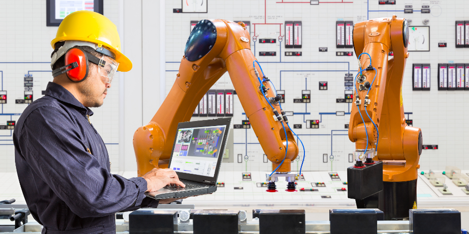 Engineer programing development automation industry robotic in laboratory of smart factory, Industry 4.0 concept