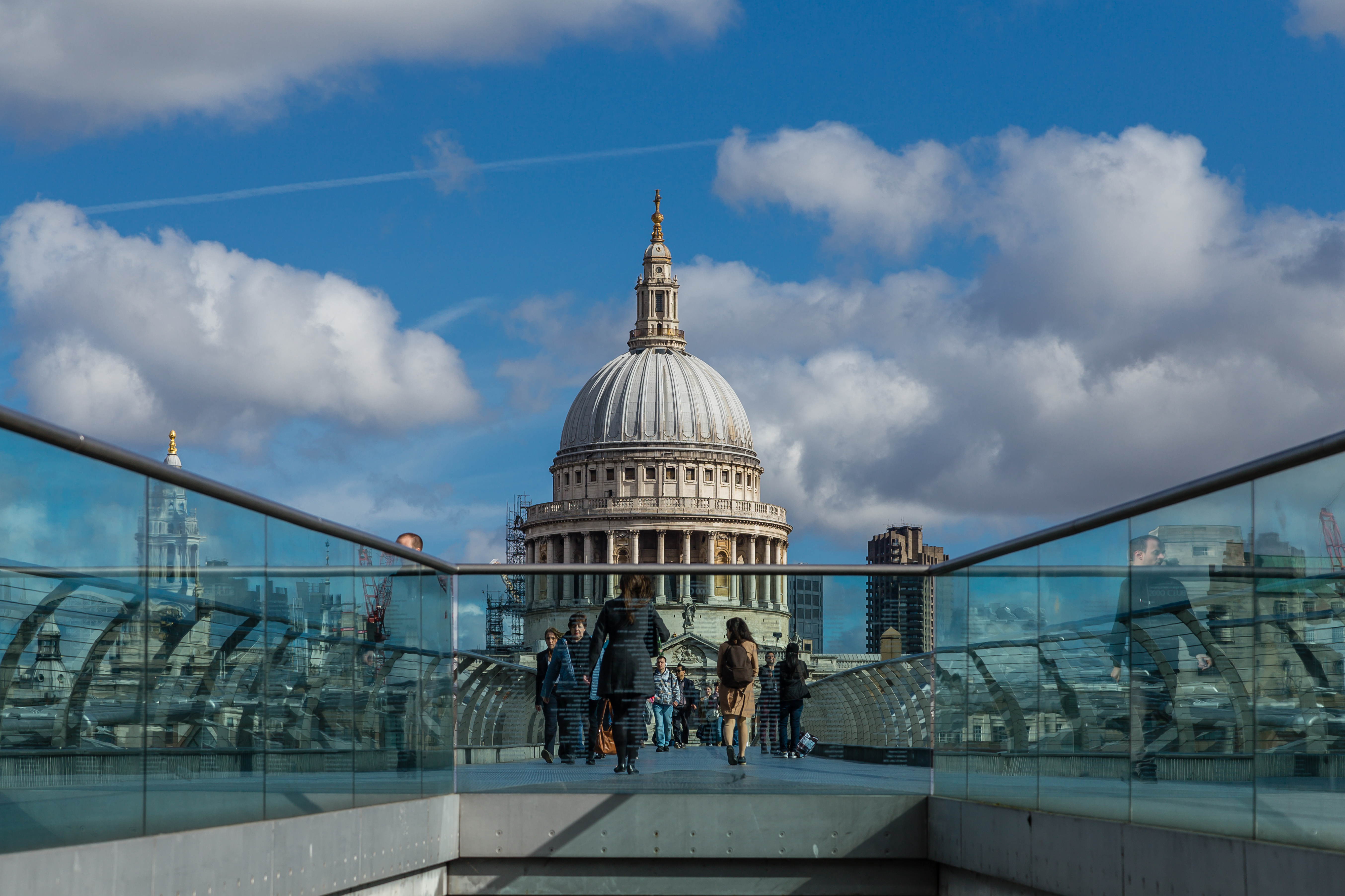 View of the dome of St. Paul's Cathedral from the Millennium Bridge