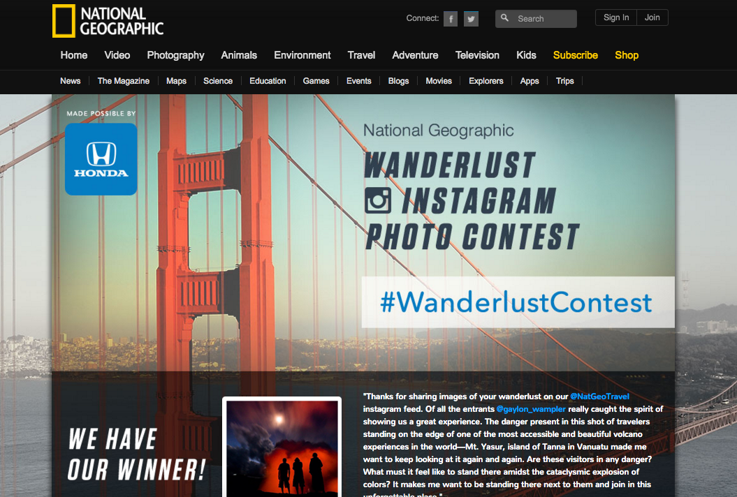 National Geographic User generated content