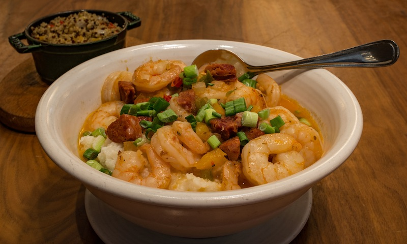 Sway inside the Hyatt Regency serves up a hearty portion of shrimp and grits.