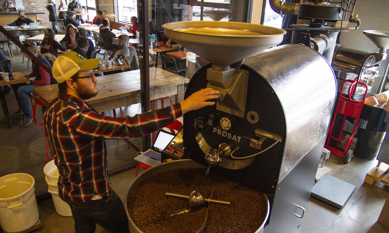 With four locations inside the city, Octane Coffee roasts its beans right next to the cafe.