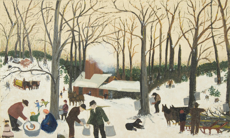 """""""Bringing in the Sugar Maple"""" was painted by Grandma Moses."""