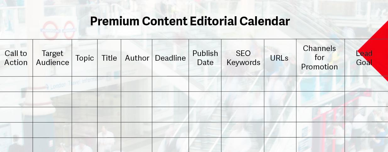 Premium Content Editorial Calendar