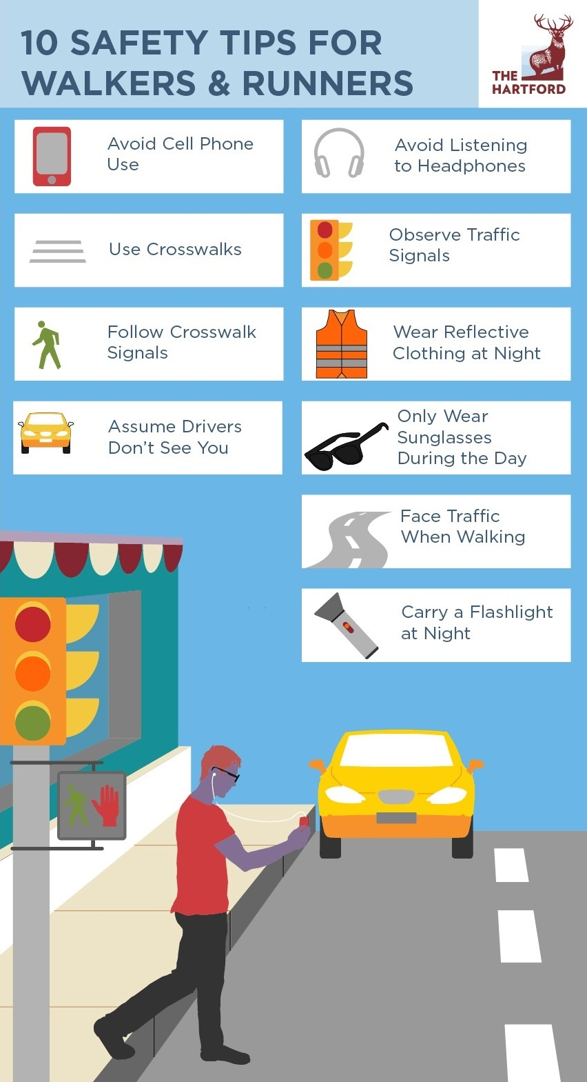 10 Safety Tips for Walkers and Runners Infographic