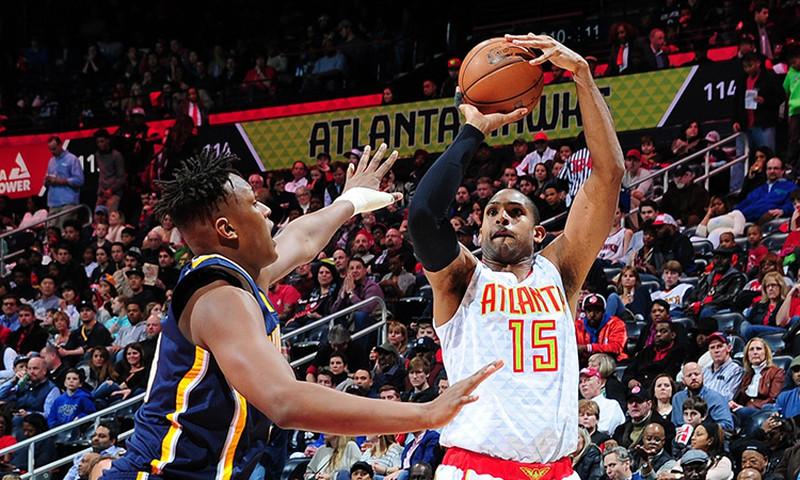 Al Horford of the Atlanta Hawks aims to put some points on the scoreboard. (photo Atlanta Hawks)