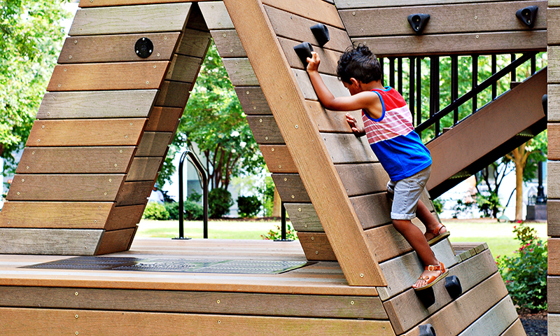 Kids can literally climb the ATL at Woodruff Park.