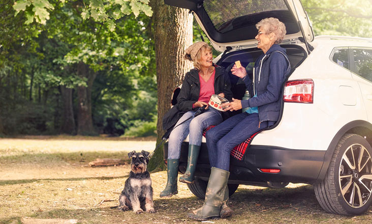 Motability Scheme customers out on a picnic with Motability Scheme car