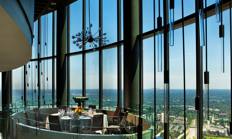 See the best view of the city from the Sun Dial Restaurant Bar & View.