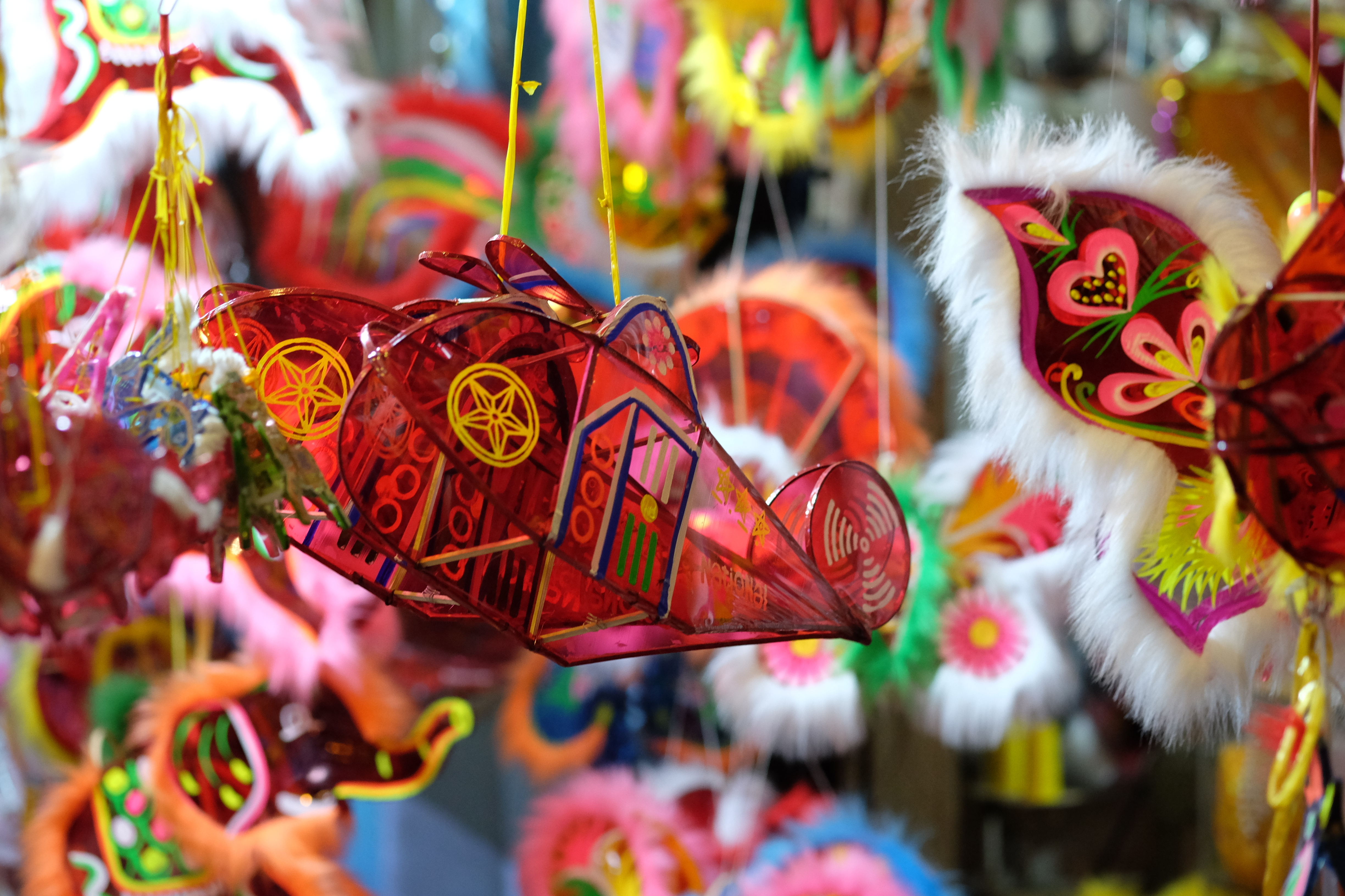 Coloful traditional paper lanterns for Mid-autumn festival in Vietnam