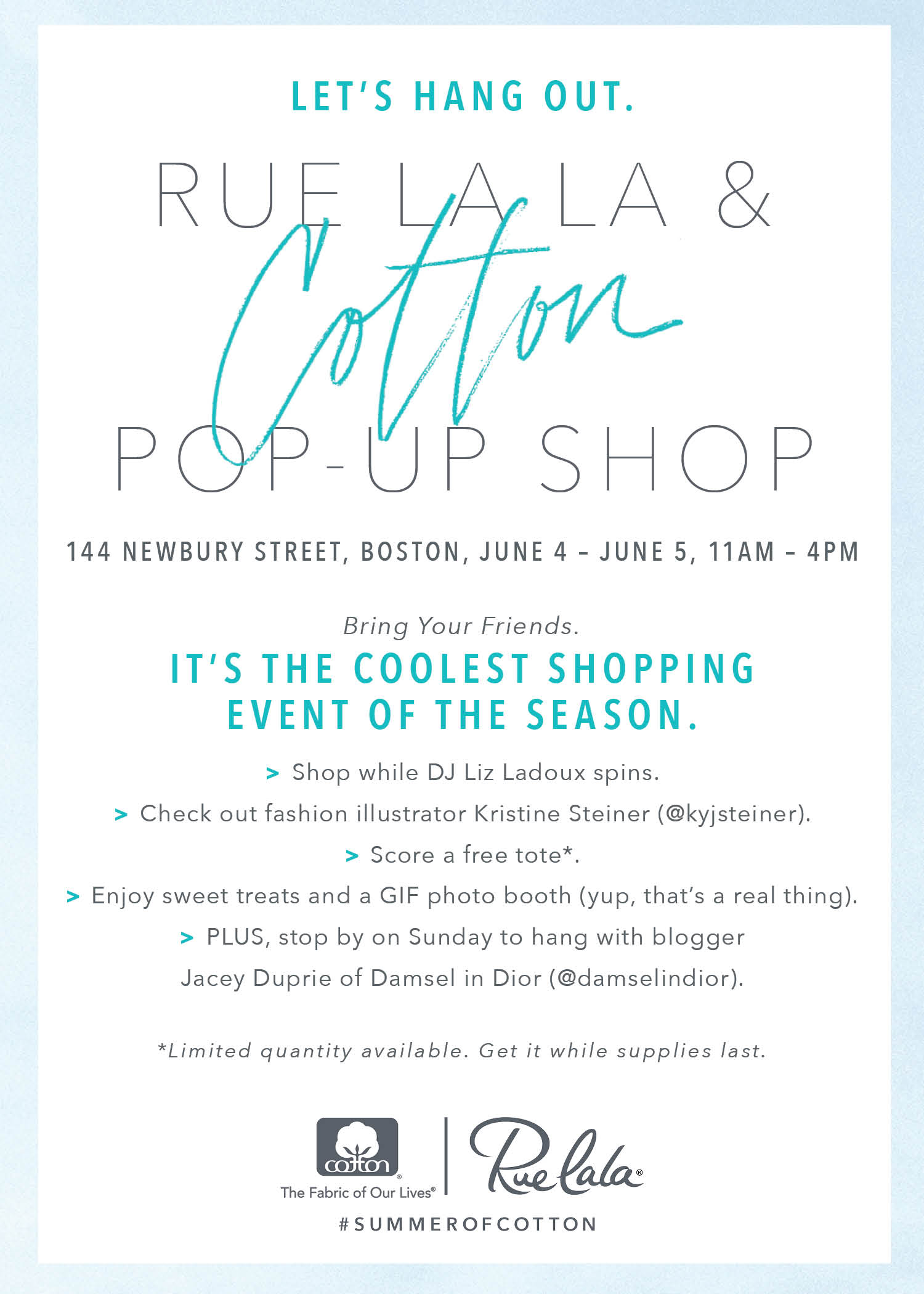 You Re Invited To Rue S First Ever Cotton Pop Up Shop