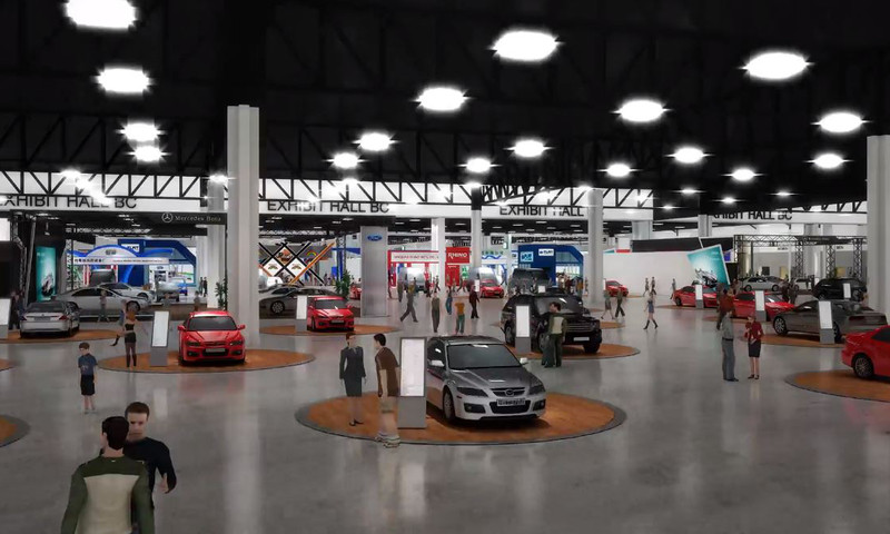 Rendering of new exhibit hall connecting Buildings B and C