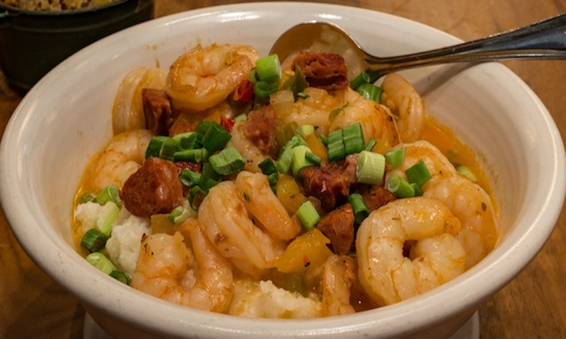 Try West Egg's award-winning shrimp and grits.