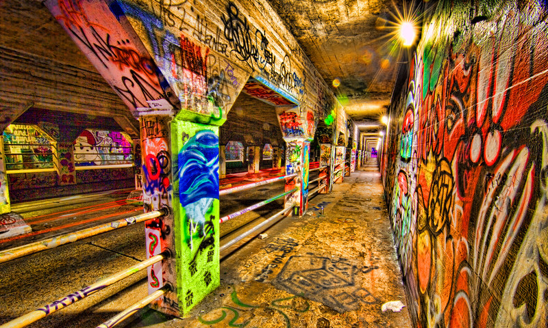 The Krog Street Tunnel displays a multitude of light and color in downtown Atlanta.