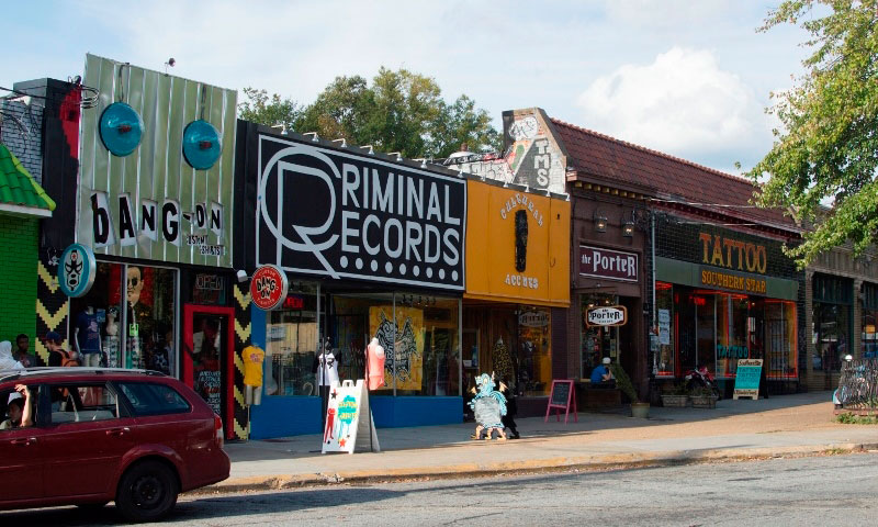 Little Five Points will take you back to the '60s with stores that sell vinyl records, secondhand shops,  great dives and restaurants.