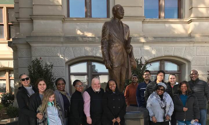 Tom Houck (blue vest) was Dr. King's driver, and he  leads the The Atlanta Civil Rights Tours.