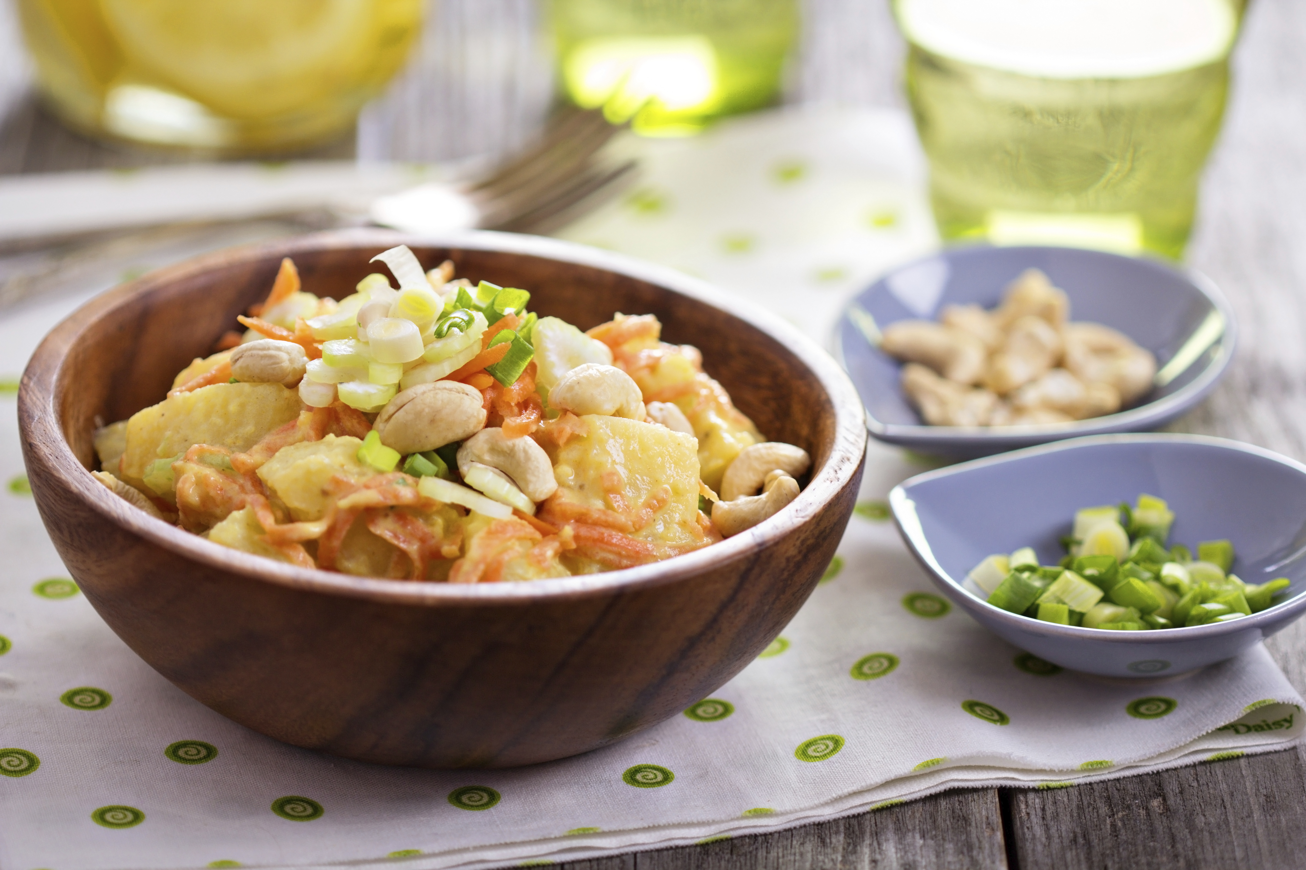 Potato salad with carrot and celery