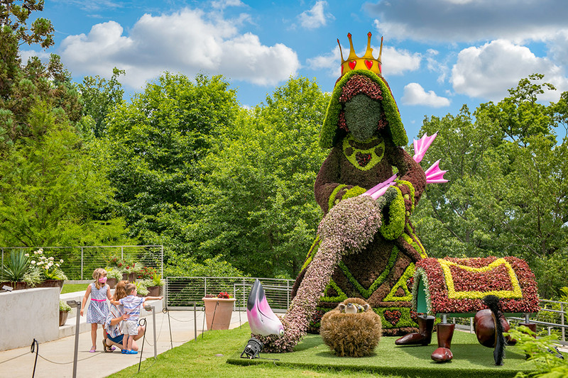 The whimsical Alice's Wonderland Reimagined is sure to delight at Atlanta Botanical Garden.