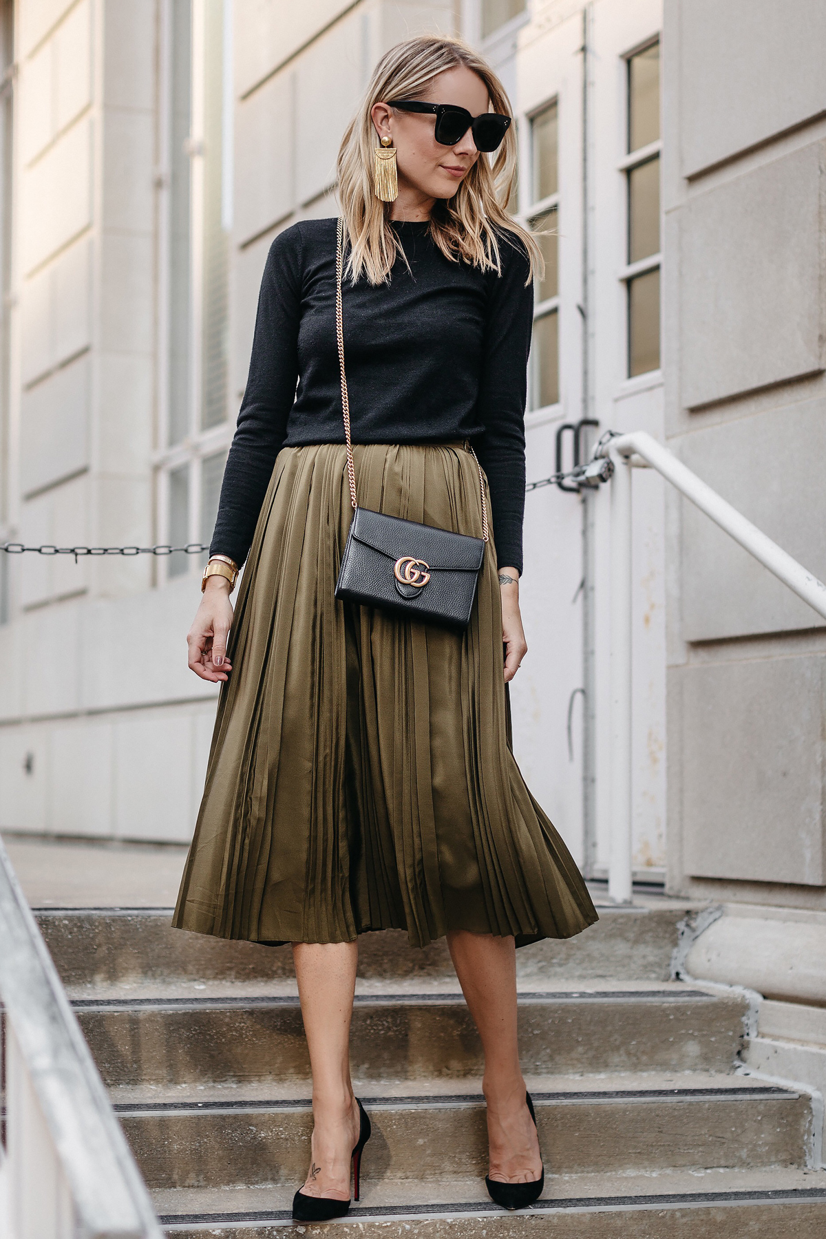 Fashion-Jackson-Black-Sweater-Robert-Rodriguez-Green-Pleated-Skirt-Gucci-Marmont-Handbag-Christian-Louboutin-Black-Pumps-3.jpg