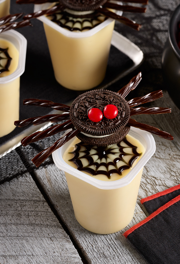 Scary Spider Pudding Cups Halloween Recipe