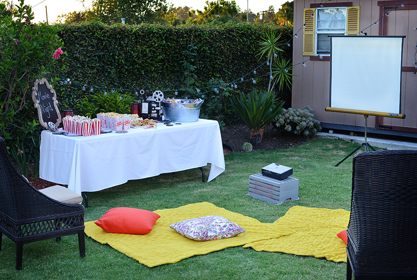 Outdoor Movie Night Set-Up