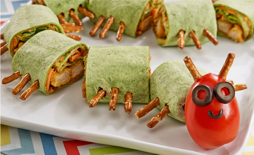 Caterpillar Chicken Tortilla Wraps Recipe