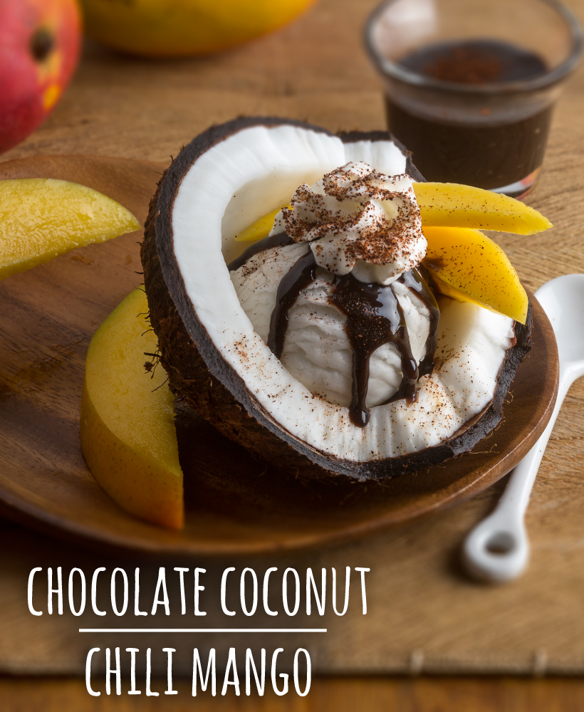 Chocolate Coconut Chili Mango Sundae